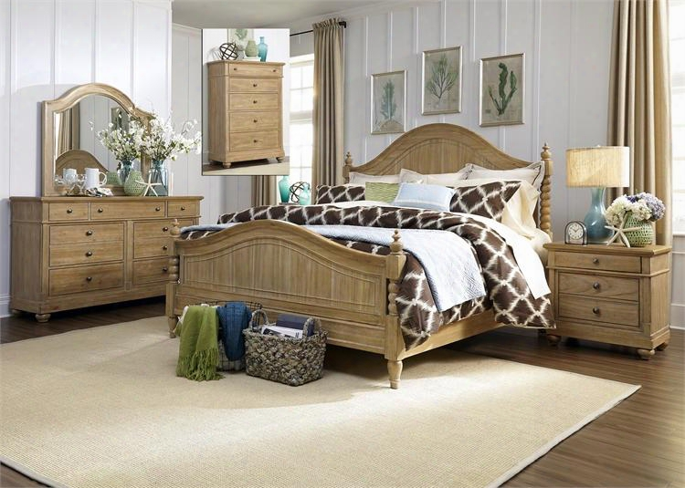 Harbor View Collection 531-br-kpsdmcn 5-piece Bedroom Set With King Poster Bed Dresser Mirror Chestand Night Stand In