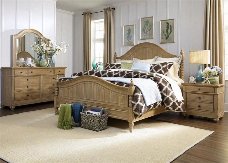 Harbor View Collection 531-br-kpsdmn 4-piece Bedroom Set With King Poster Bed Dresser Mirror And Night Stand In