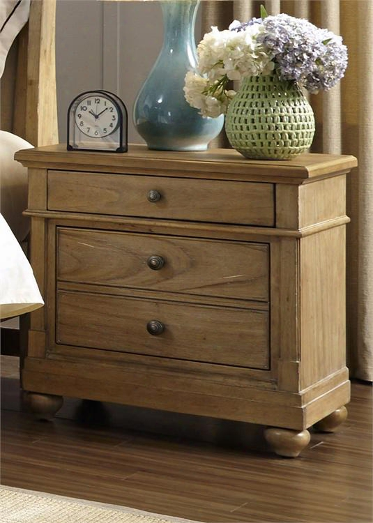 """Harbor View Collection 531-br61 28"""" Night Stand With 2 Drawers Full Extension Metal Side Drawer Glides And French & English Dovetail Construction In Sand"""