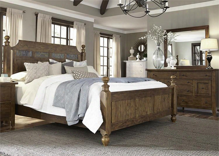 Hearthstone Collection 382-br-kpsdm 3-piece Bedroom Set With King Poster Bed Dresser And Mirror In Rustic Oak