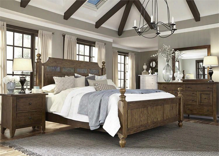 Hearthstone Collection 382-br-kpsdmn 4-piece Bedroom Set King Poster Bed Dresser Mirror And Night Stand In Rustic Oak