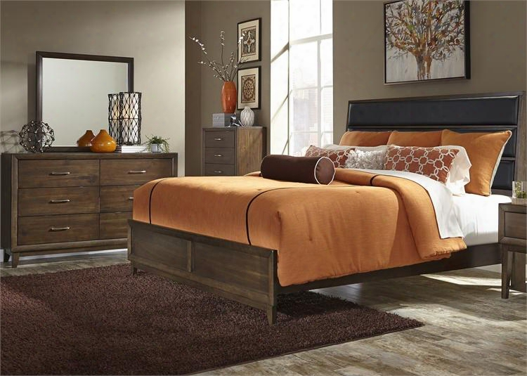 Hudson Square Collection 365-br-kubdmc 4-piece Bedroom Set With King Upholstered Bed Dresser Mirror And Chest In Espresso
