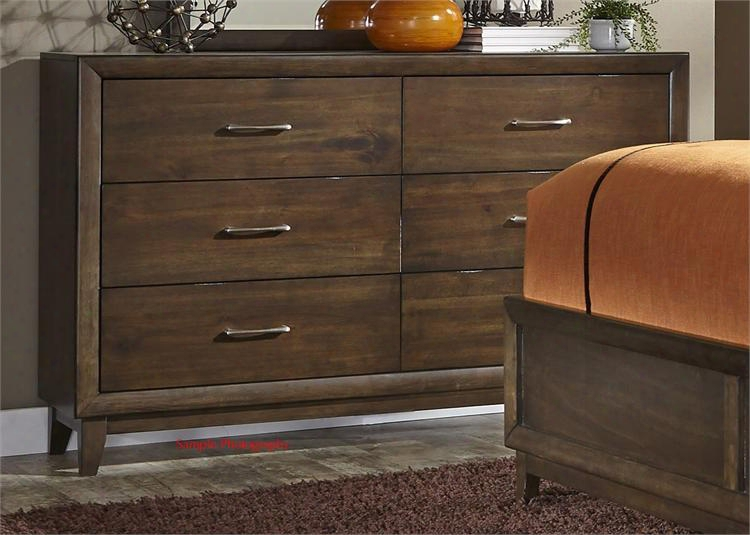"""Hudson Square Collection 365-br31 59"""" Dresser With 6 Drawers Full Extension Metal Side Drawer Glides And Satin Nickel Bar Pull Hardware In Espresso"""
