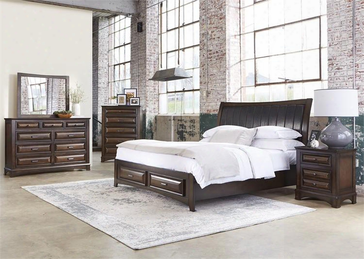 Knollwood Collection 258-br-ksbdmcn 5-piece Bedroom Set Wtih King Storage Bed Dresser Mirror Chest And Night Stand In Dark Cognac