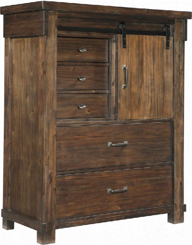 "Lakeleigh Collection B718-46 44"" Chest With 5 Drawers 1 Adjustable Shelf 1 Sliding Barn Door Simple Metal Pulls Lined Top Drawer High-grain Finish With"