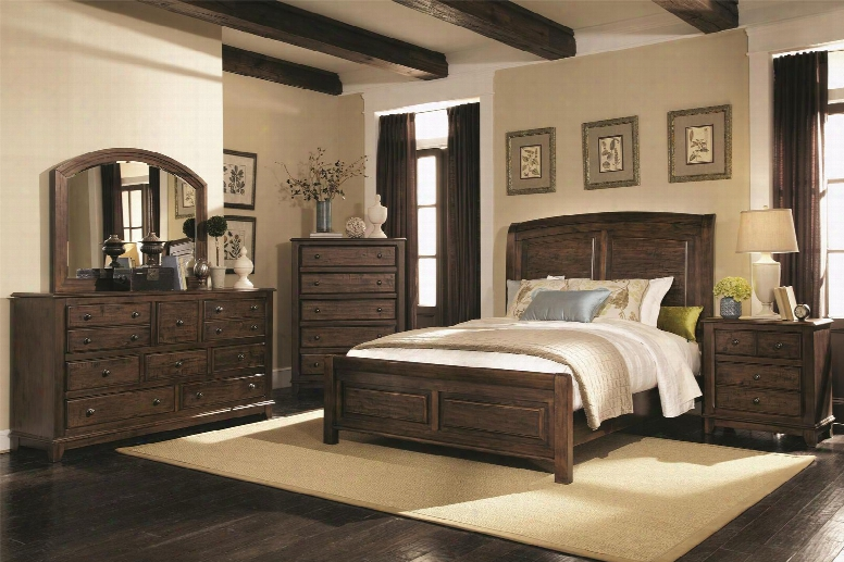 Laughton Collection 203260qset 5 Pc Bedroom Set With Queen Size Bed + Dresser + Mirror + Chest + Nightstand In Rustic Brown