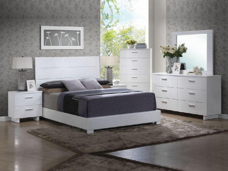 Lorimar Collection 22627ekset 6 Pc Bedroom Set With Kin Gsize Bed + Dresser + Mirror + Chest + 2 Nightstands In White