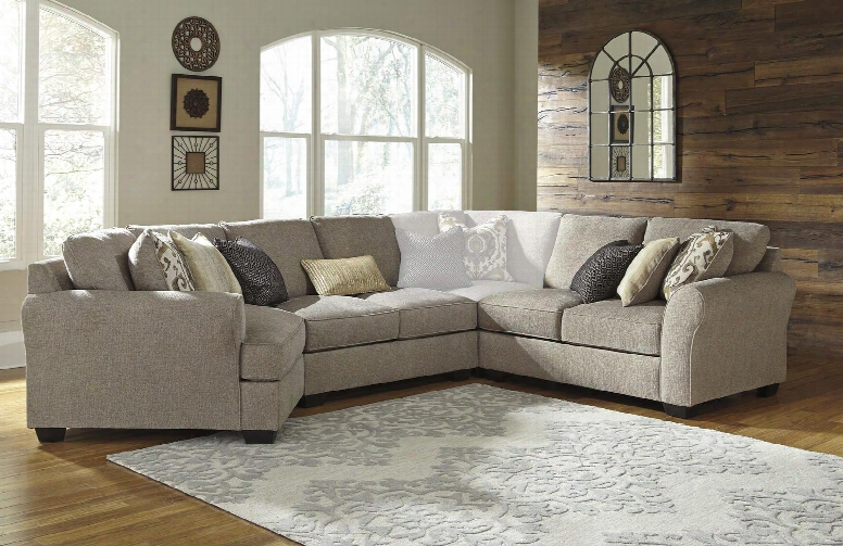 Pantomine 39102-76-56-34 3-piece Sectional Sofa By The Side Of Left Arm Facing Cuddler Armless Sofa And Right Arm Facing Loveseat In Driftwood