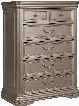 "Birlanny Collection B720-46 38"" Chest with 5 Drawers Carved Moldings Fluted Pilasters Ornamental Bail Pulls Felt-Lined Top Drawer with Decorative Pull"
