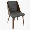 CH-GAL WL+GY2 Galanti Mid-Century Modern Dining Chair in Walnut Wood and Grey PU - Set of