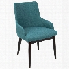 DC-SNTGO WL+TL2 Santiago Mid-Century Modern Dining / Accent Chair Teal Fabric Upholstery - Set of