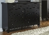 """Hamilton III Collection 441-BR32 58"""" Dresser with 9 Drawers Full Extension Metal Side Glides and Antique Brass Knobs in Black"""