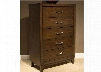 "Hudson Square Collection 365-BR41 35"" Chest with 5 Drawers Full Extension Metal Side Drawer Glides and Satin Nickel Bar Pull Hardware in Espresso"