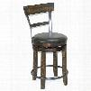 "Metroflex Collection 1624TL-B24 24"" Stool with Cushion Seat Heavy Duty Swivel and Rough Sawn Wood Parts in Tobacco"