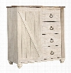 "Willowton Collection B267-48 39"" Dressing Chest with Replicated Work Through Paint Bun Feet and Ring-Pull Hardware in Whitewash"