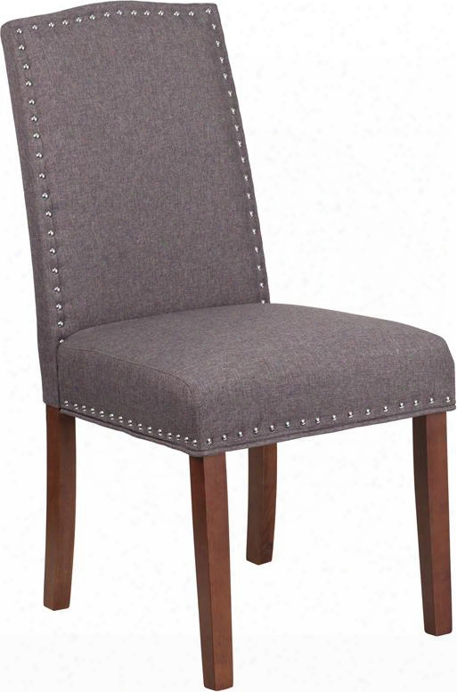 Qy-a13-9349-gy-gg Hercules Hampton Hill Series Gray Fabric Parsons Chair With Silver Nail
