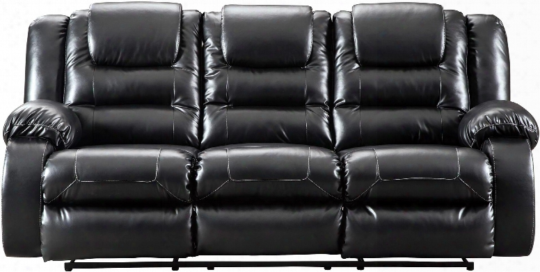 """Vacherie Collection 7930888 87"""" Reclining Sofa With Pillow Top Armrest Waterfall Channel Cushioning Metal Drop-in Seat Box And Faux Leather Upholstery In"""