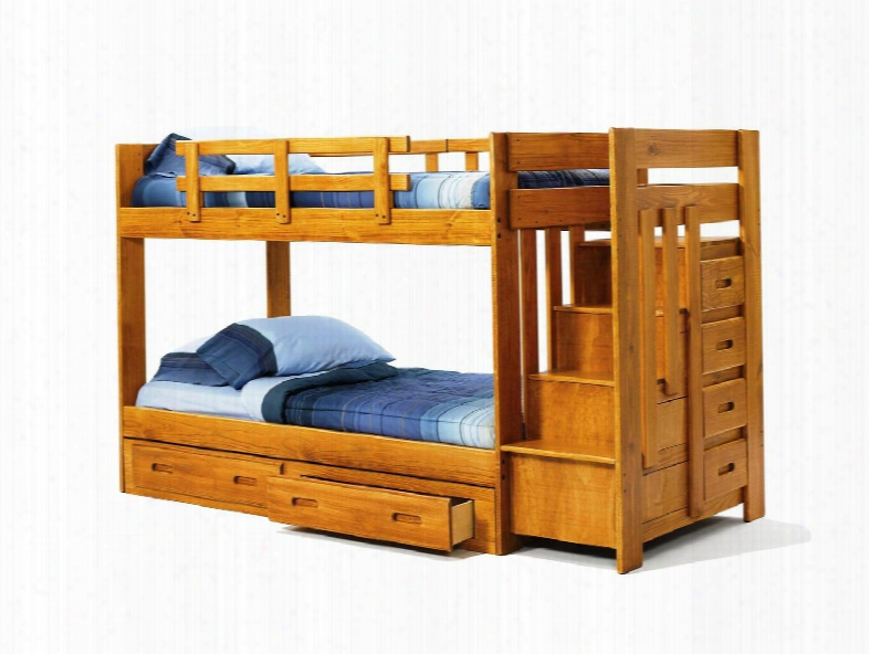 361548-r-s Twin Over Twin Bunk Bed With Reversible Staircase And Underbed Storage