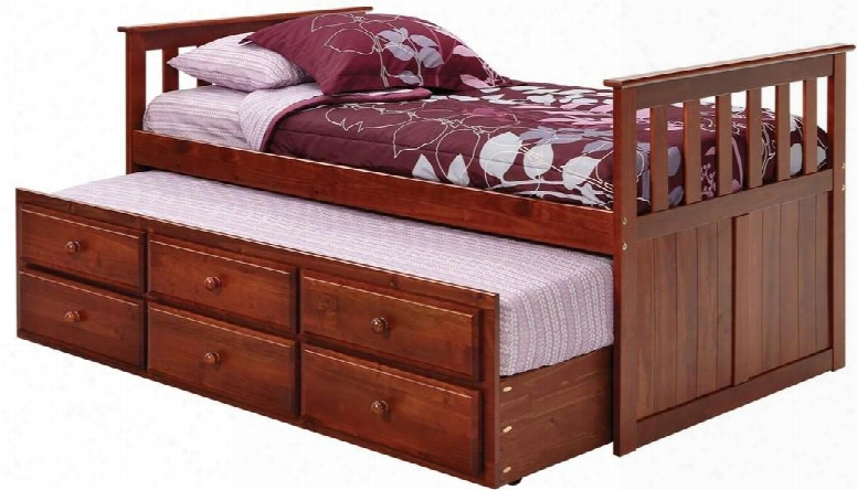 366700 Twin Mission Style Captains Bed With Trundle And Storage In Dark