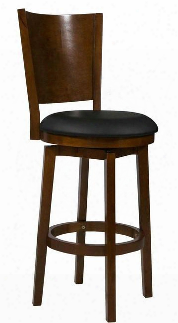 "697-729 48"" Big Tall Solid Back Wood Barstool With Plush Upholstered Seat Straight Legs And Circular Cross Brace Anchor In Medium Cherry"