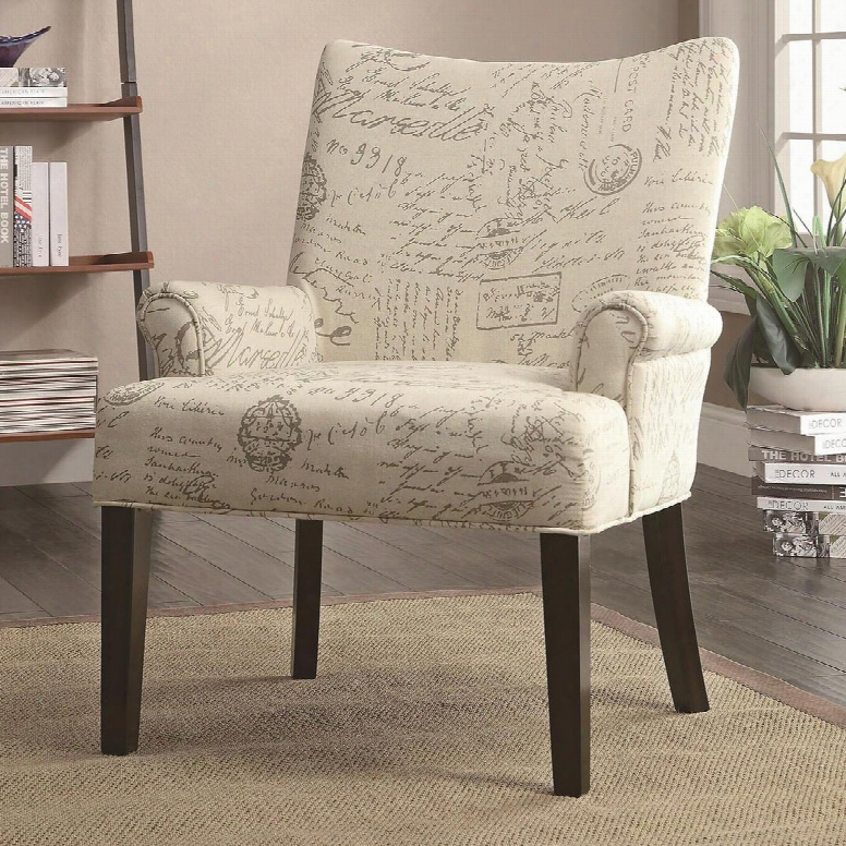 """Accent Ssating Collection 902149 28"""" Accent Chair With French Script Pattern Cappuccino Taperde Legs High Curved Back And Linen-like Upholstery In Off-white"""