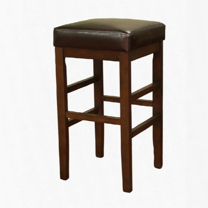 """Empire Series 134845sr-l11 Transitional Stool With Plush 3"""" Cushion And Floor Glides & In Sierra Finish With Merlot Leather"""