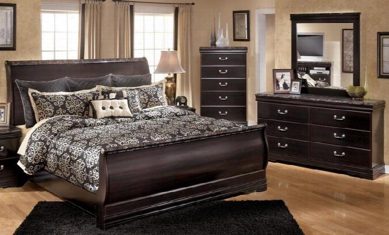 Esmarelda King Bedroom Set With Sleigh Bed Dresser Mirror And Chest In Dark