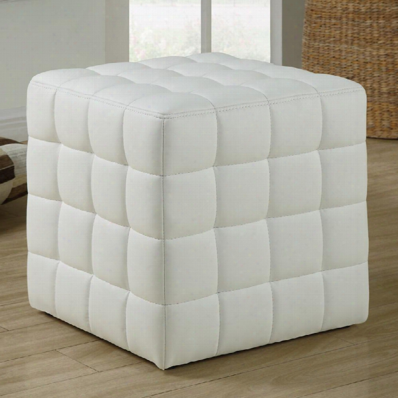 I 8978 Ottoman - White Leather-look