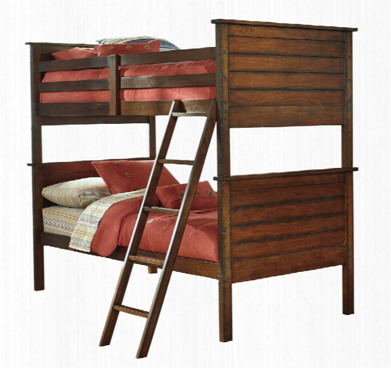 Ladiville B567-59p/59r/59s Collection Twin Size Bunk Bed With Saw Distress Effect Veneer And Hardwood Solids In Rustic