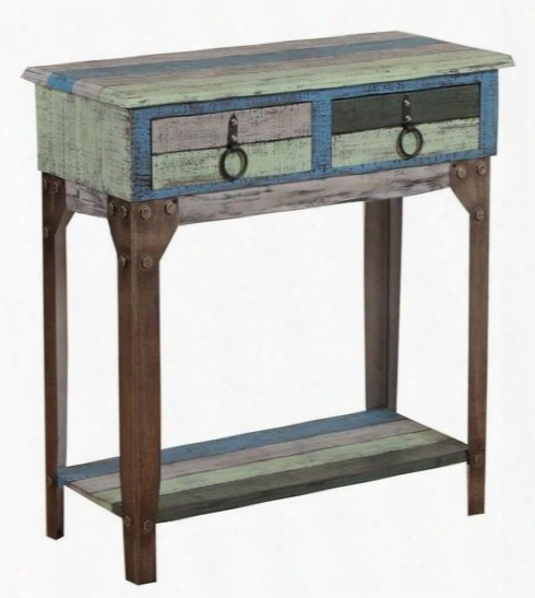 "Powell Calypso Collection 114-534 31"" Small Hall Console With 2 Drawers Lower Shelf Antique Bronze Hardware Fir Wood And Iron Material In Green And Blue"