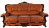 989BROWNS2SET Traditional 2 Piece Livingroom Set Sofa and Loveseat in Light Brown with Mahogany Wood