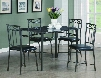I 1036 Dining Set - 5pcs Set / Grey Marble / Charcoal