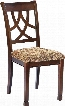 "Leahlyn Collection D436-01 20"" Dining Room Side Chair with Fabric Upholstery Cushioned Seating Pierced Splat Back Design and Tapered Legs in Medium"
