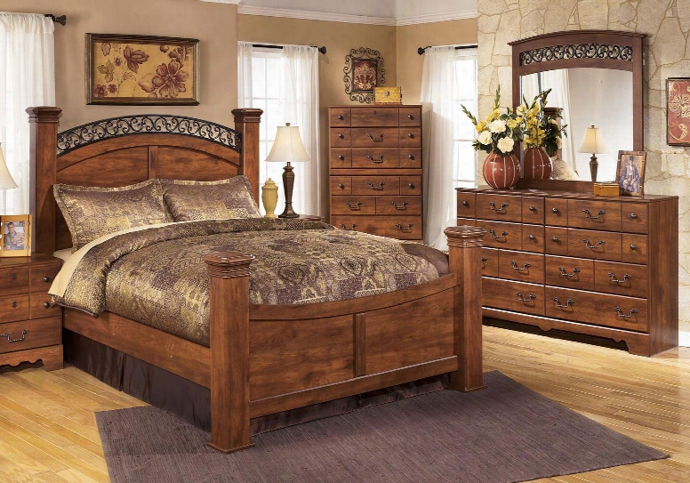 Timberline King Bedroom Set With Poster Bed Dresser And Mirror In Warm