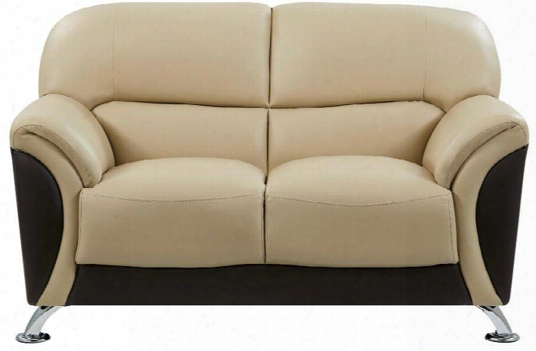 U9103-capp/choc-l Loveseat With Polyvinyl Chloride Upholstery In
