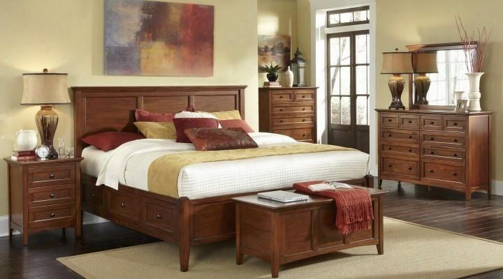 Wslcb5191k6p Westlake 6-piece Bedroom Set With King Sized Storage Bed Chest Dresser Mirror And Two