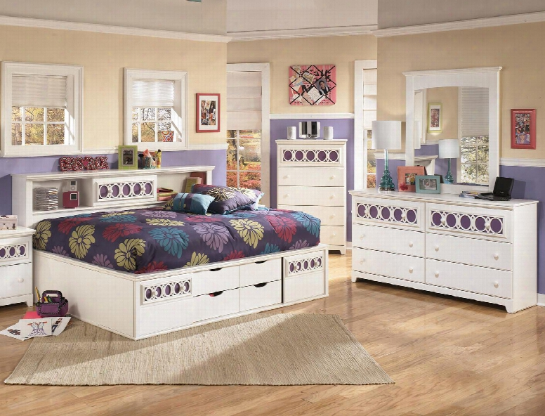 Zayley Full Bedroom Set With Bedside Storage Bed Dresser Mirror And Chest In