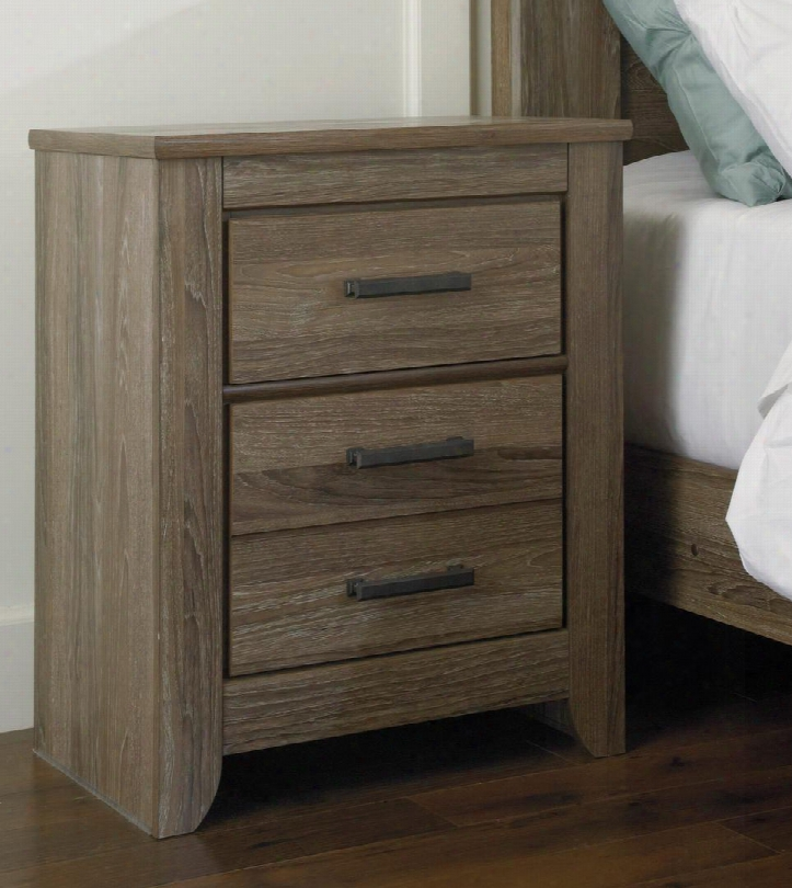 """Zelen B248-92 24"""" 2-drawer Nightstand With Replicated Oak Grain Large Dark Pewter Color Hsndles And Side Roller Glides In Warm"""