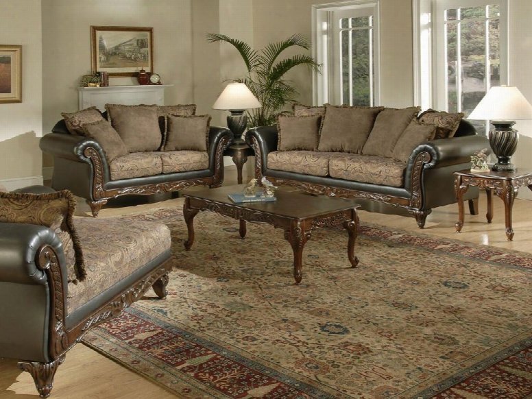 6768511-slc Serta Ronalynn 3 Piece Livingroom Set Sofa + Loveseat + Chaise Upholstered In San Marino Chocolate Poly Cotton