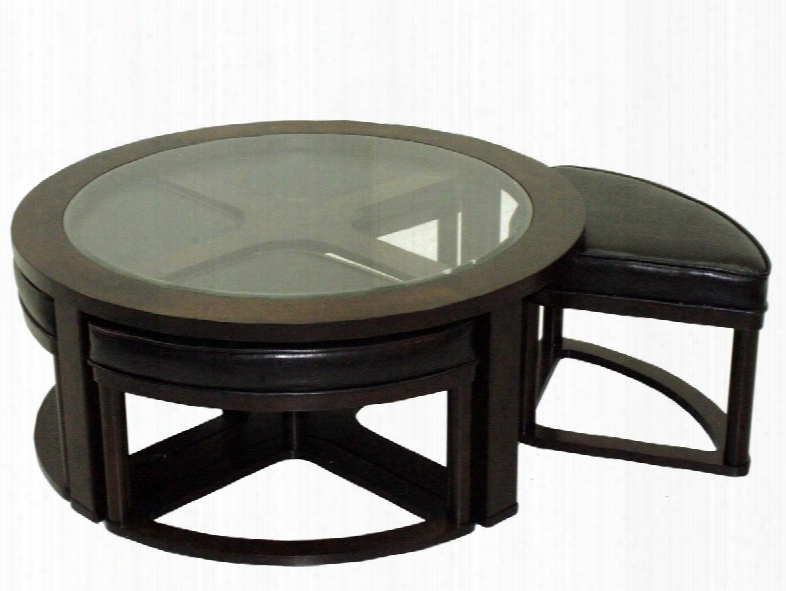 83440 Barkley Collection Round Cocktail Table With Glass Top And 4 Pull Out