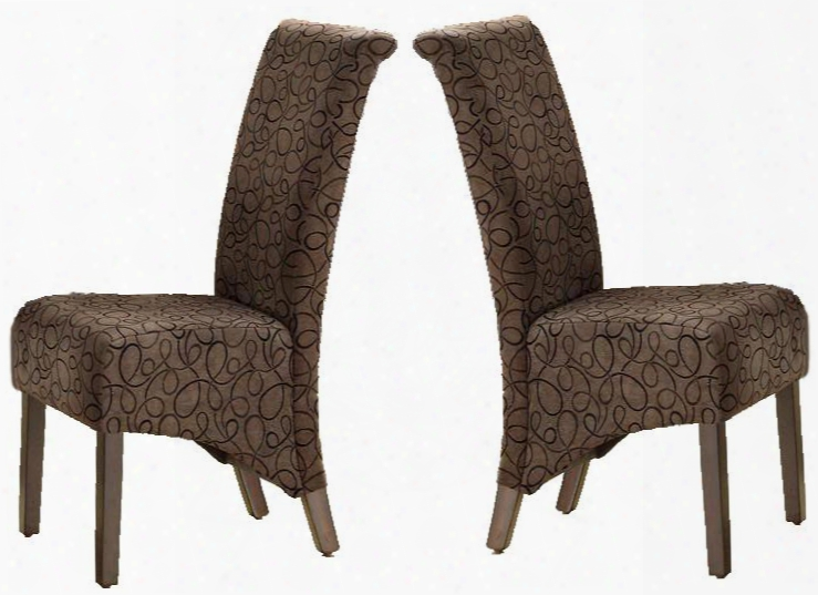 """I 1788br Dining Chair - 2pcs / 40""""h / Brown Swirl"""
