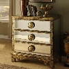 """32155 36"""" Mirrored Chest with Mirrors on Top Sides and Drawers Easy-to-open Drawer Glides Over-sized Drawer Pulls and Frame in Distressed Aylor Antique"""