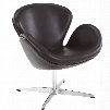 """Wing Collection EEI-527-BRN 28"""" Lounge Chair with 360 Degree Swivel Aluminum Base Fiberglass Frame and Aniline Leather Upholstery in Brown"""