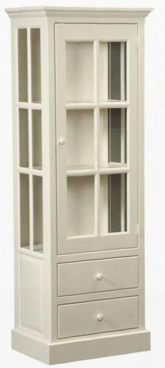 """Rebekah 465015 26"""" Pantry With 2 Drawers 1 Glass Door Simple Hardware And Pine Wood Construction In Country White"""