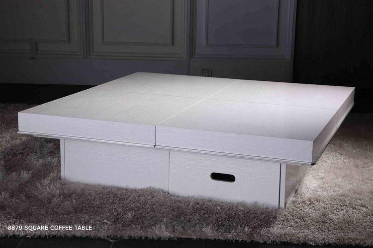 "Vgun8879a-clwht Modern 47"" Coffee Table With One Drawer 4 Top Sliding In And Out Panels: High Gloss Crocodile"