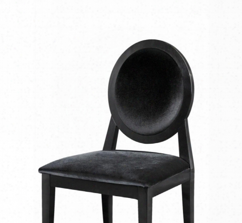 Vgunaa030 A&x Alice Sdie Chair With Tapered Legs Black Lacquer Fabric Upholstery And High Gloss Frame In Black