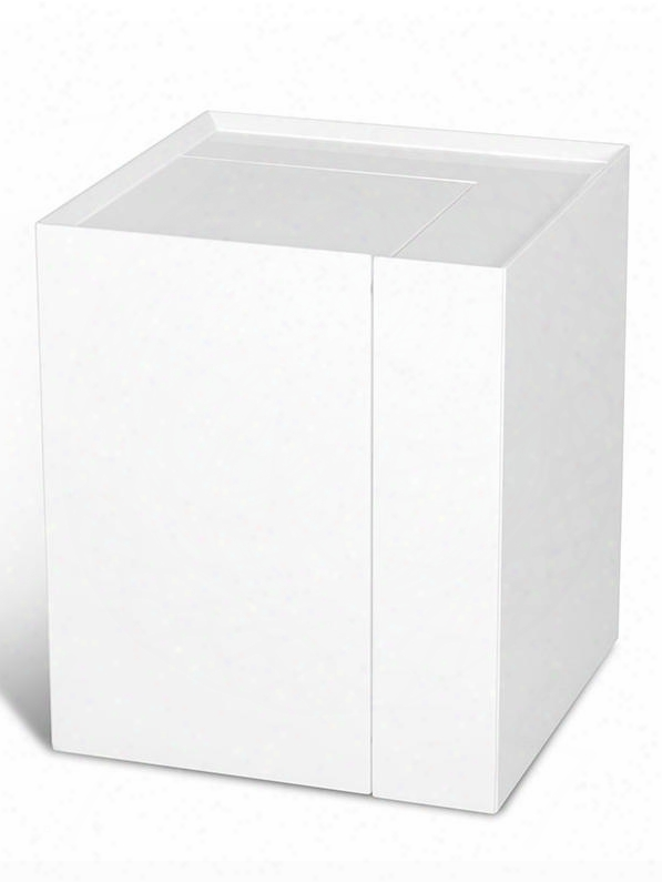 Vgwcp205b-1 Modrest End Table With Hidden Storage Compartment In White Lacquer