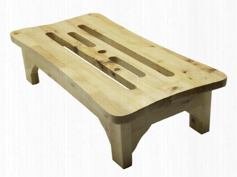 """Ab4408 24"""" Stool For Your Wooden Tub With Wood And Cutout Slots In Natural"""