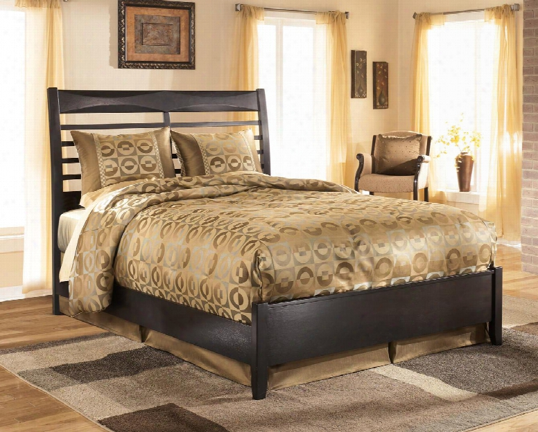 Kira B473-54/57/96 Queen Size Panel Bed With Slat Style Headboard And Made With Select Veneers And Hardwood Solids In An Almost Black