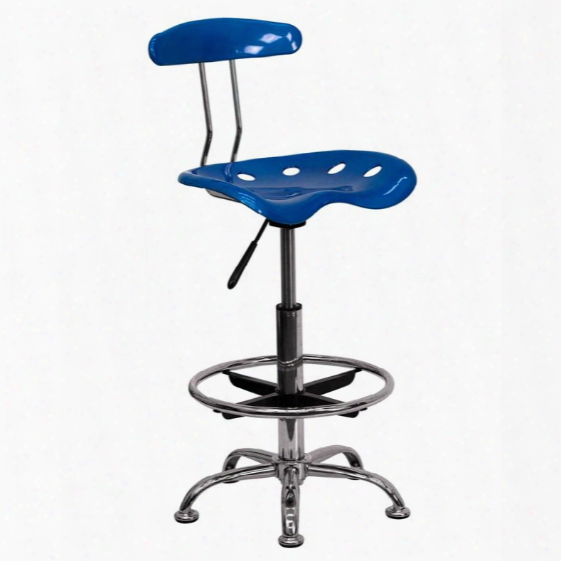 "Lf-215-brightblue-gg 32.5"" - 41"" Drafting Stool With Pneumatic Seat Height Adjustment Swivel Seat Molded Tractor Seat Chrome Foot Ring And High Density"